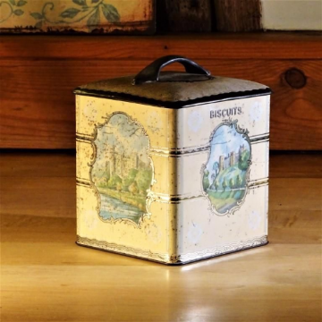 Small Square Vintage Biscuit Tin